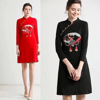 BA02000 紅色 黑色 新款立領扇子重工繡花改良旗袍式中國風中長連衣裙 S-2XL
