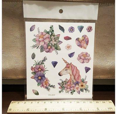 【萌古屋】閃亮粉紅色獨角獸 - 男女防水紋身貼紙刺青貼紙FG-023 K02