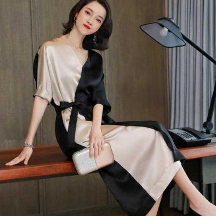 洋裝 #J-099 平滑無皺連身裙 拚色設計OL款