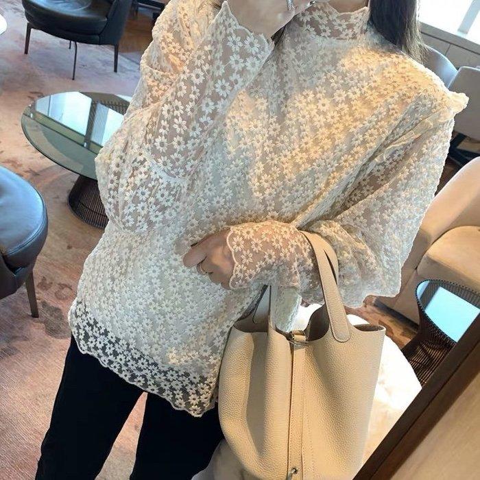 *Angel  Dance*長袖蕾絲上衣(米杏色)@韓國 公主甜美風 透視 配大衣 性感 網紗 內襯 打底衫@現貨+預購