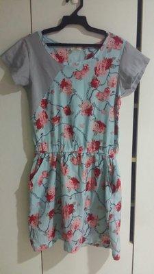 D紅藍色優雅花朵口袋洋裝
