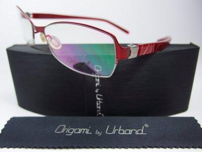 【信義計劃】全新真品 Urband 手工眼鏡 紅色鈦金屬半框 專利彈簧膠腳 超越 Infinity Lindberg