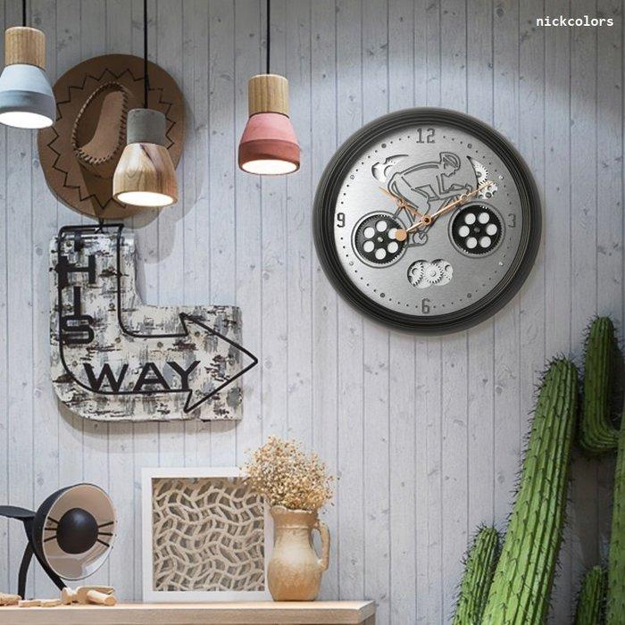 尼克卡樂斯~機械腳踏車轉動齒輪掛鐘 兒童房掛鐘 時尚 簡約 靜音時鐘 餐廳掛鐘 咖啡廳時鐘 客廳臥室掛鐘 工業風時鐘
