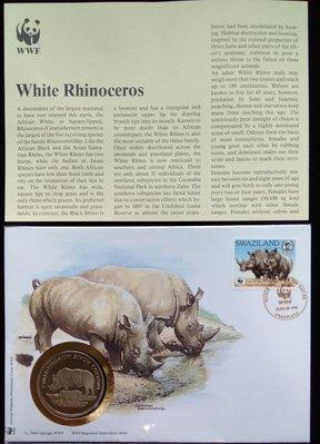 WWF30Years熊貓麥白犀牛White Rhinoceros郵票(W84)限量紀念幣Commemorative Coin特價