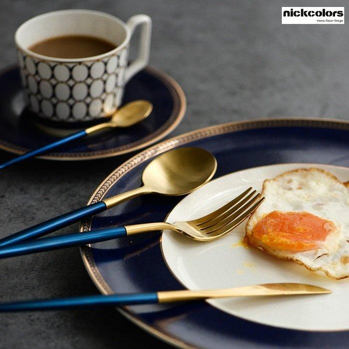 尼克卡樂斯~葡萄牙設計402不鏽鋼鍍金西餐餐具4件套組寶藍刀叉組 西餐餐具組 北歐餐具 西餐廳精品餐具