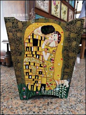 名畫克林姆Klimt Gustav吻The Kiss垃圾桶垃圾筒置物桶店面民宿居家擺設庭院布置擺飾 ♖花蓮宇軒家飾家具♖