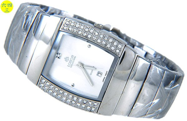 (六四三精品)LOBOR真品)銀色酒桶鑽錶.全銀式錶帶.外框二排晶鑽!!