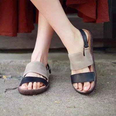 真皮涼鞋 文藝手工牛皮拼色涼鞋(灰/綠 35-40 GEN) SUNDAY SHOES