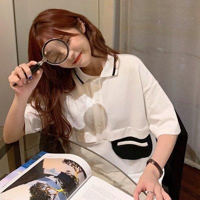 小香風 短袖T恤 時尚穿搭 韓版 設計感撞色口袋寬松中長款小眾短袖T恤上衣女ins