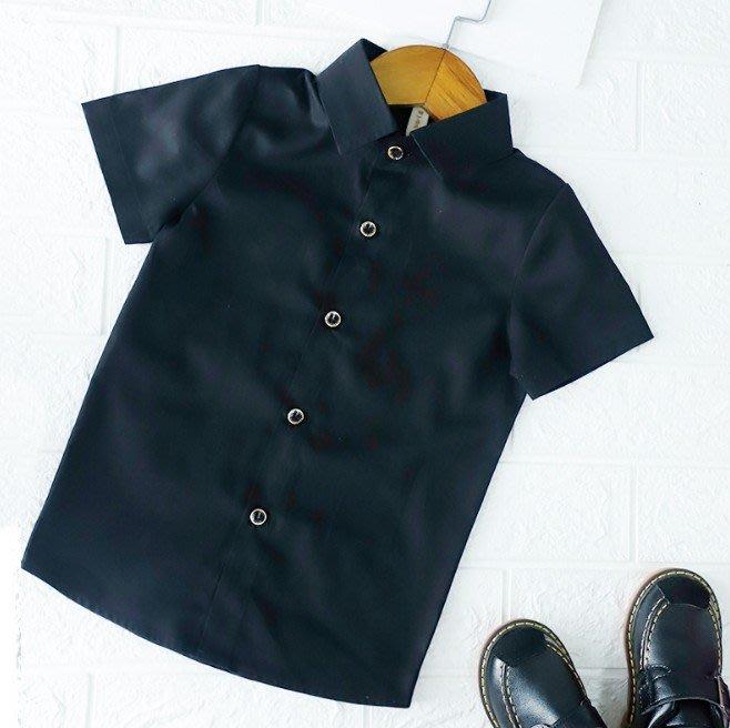 日韓歐美♥韓版中大男童 黑色襯衫 夏日短袖襯衫上衣 表演 花童短袖上衣【CF014】