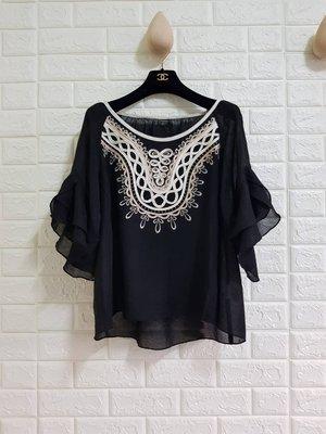 日本貴婦品牌Diagram 36號波西米亞風棉麻刺繡上衣