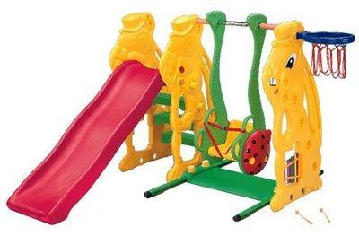 【W先生】小白兔溜滑梯 鞦韆 籃框 兒童溜滑梯 台灣製造 ST安全玩具(贈100顆軟球)