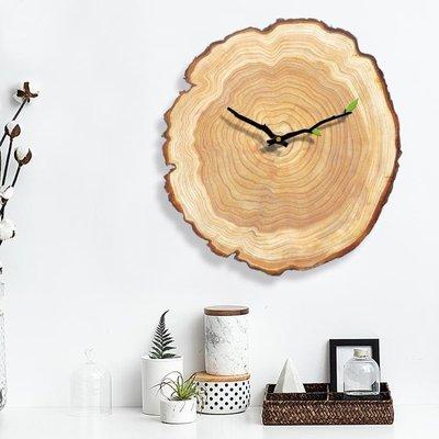 掛鐘 北歐掛鐘創意客廳臥室靜音時鐘木質掛表現代簡約家居年輪歐式鐘表   全館免運