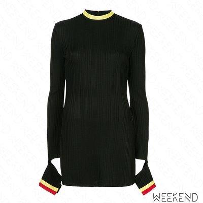 【WEEKEND】 ELLERY 袖口切割 側邊開岔 長版 針織 長袖 上衣 黑色 18秋冬