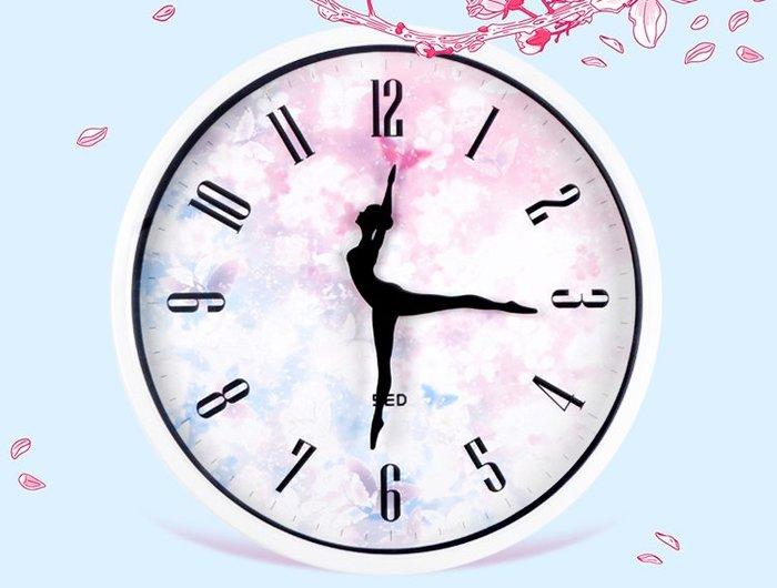 「免運」跳舞裝飾靜音時尚臥室芭蕾舞蹈鐘表掛鐘客廳創意個性藝術圓形時鐘 『菲菲時尚館』