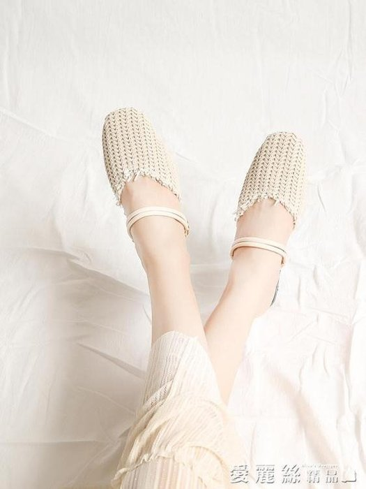 半拖鞋女時尚外穿2018夏季包頭編織穆勒鞋女平底兩穿女涼拖 尚美優品
