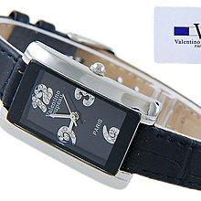 (六四三精品)范侖鐵諾(真品)細長細緻款式.水鑽3.6.9.12時刻精準錶!黑