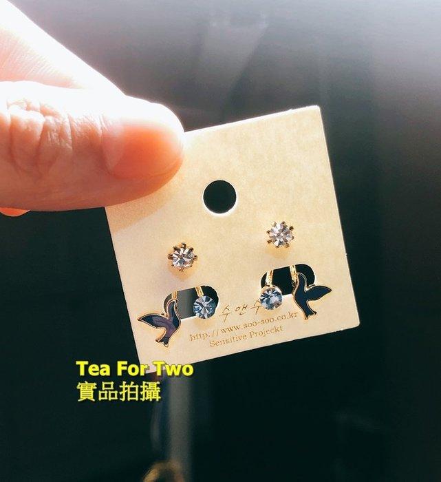 出清特賣-百元系列- No2. 韓國製造,小藍鑽+小飛鳥前後層次耳環
