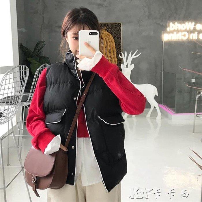 背心外套 棉馬甲女韓版寬鬆百搭學生bf短款無袖背心外套潮