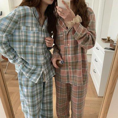 內衣睡衣兩件套休閒居家服 格紋西裝領開衫上衣+褲子睡衣套裝 艾爾莎【TAE8711】