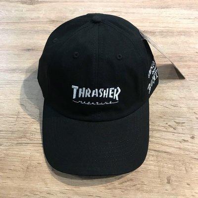 【MASS】THRASHER HOMETOWN SAD DAD HAT 字體 老帽 灣帽 黑色
