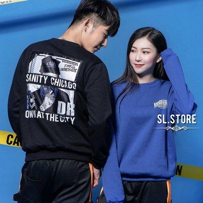 SL Store【DA305】ANNOUNCE街頭人物印花情侶刷毛大學T.黑/藍/米白/M/L/XL