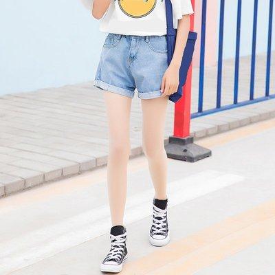 牛仔褲女2018春夏新款時尚高腰顯瘦卷邊寬松純色學生闊腿短褲子潮