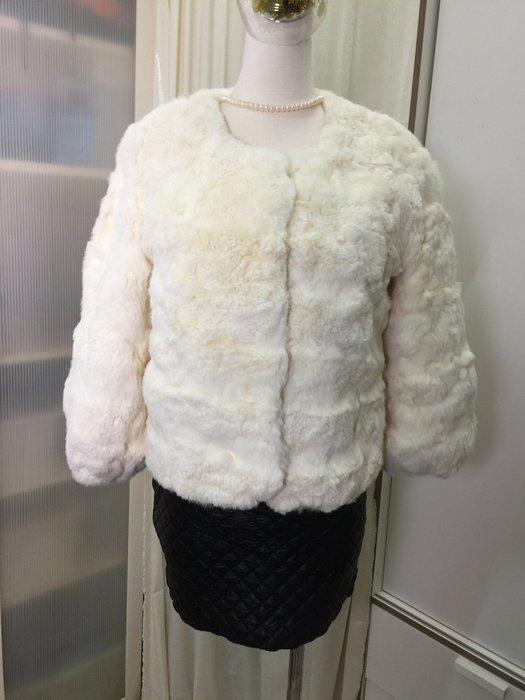 出清羽竹店鋪 %真皮草 兔賴毛白色短版束口袖外套047 尺寸L