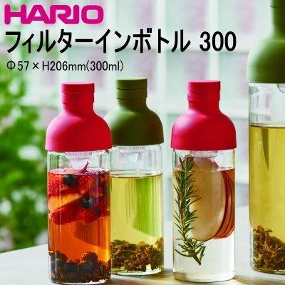 【豐原哈比店面經營】日本 HARIO FIB-30-R 酒瓶造型冷泡式耐熱玻璃壺 附濾網-300CC紅色下標處