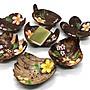 彩繪泰國進口手工彩繪創意椰子殼葉子造型香皂盒可瀝水椰殼皂肥皂盒   隨機發貨