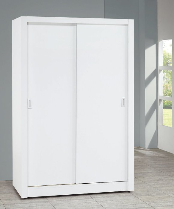 【南洋風休閒傢俱】精選時尚衣櫥 衣櫃 置物櫃 拉門櫃 造型櫃設計櫃-純白耐磨4*7尺木心板拉門衣櫃 CY158-4711