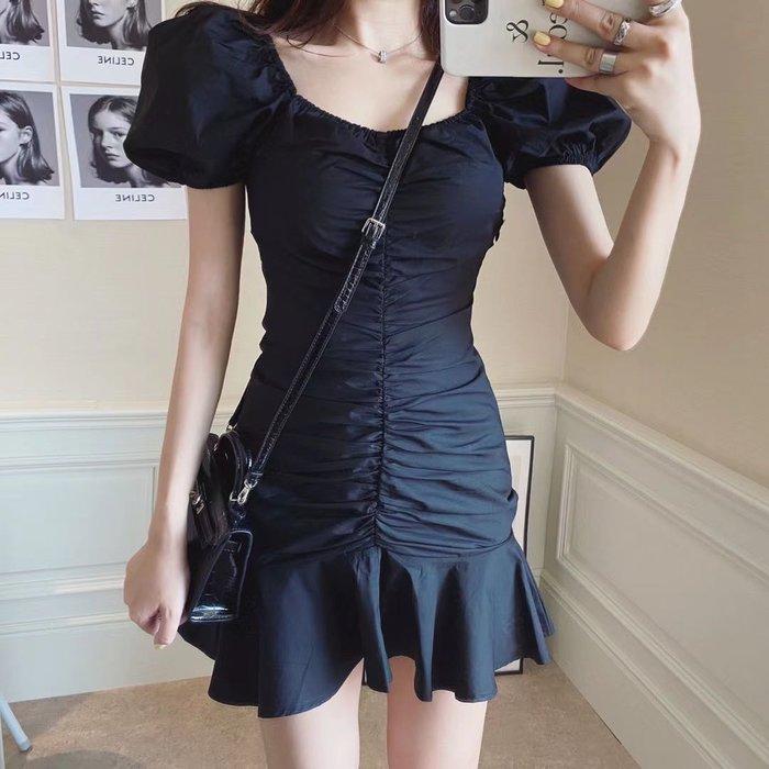 PapaDarling 20SSw 輕法式荷葉邊泡泡袖魚尾裙擺修身 連身裙 洋裝 黑色白色