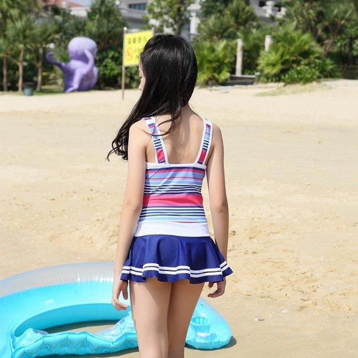 兒童泳衣 韓版兒童泳衣女孩連體中大童裙式游泳衣公主學生韓國女童泳裝套裝 夢雲家
