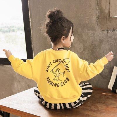 【親子百寶袋】兒童衛衣2018秋裝新款中大童韓版時尚寬松童裝潮女童洋氣上衣