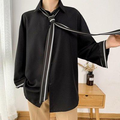 Chita Man + 春裝 七分袖 領帶滾邊 時裝襯衫