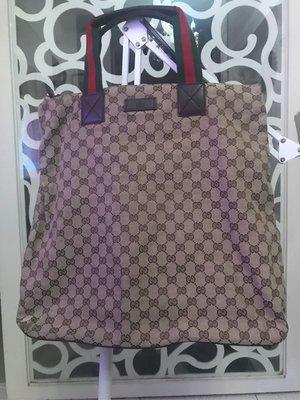 正品二手Gucci紅綠雙色織帶緹花大購物袋