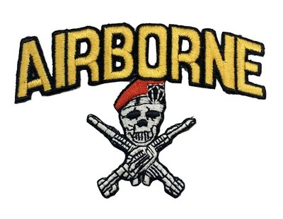 RayKae~個性燙貼布、美式風臂章、特種部隊空降骷髏、刺繡燙布、貼花~AIR BORNE