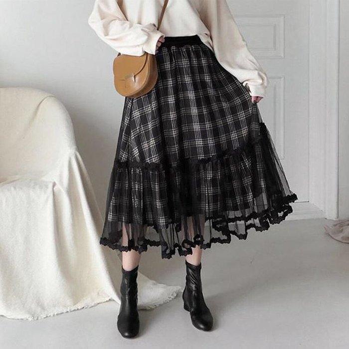 【WildLady】 稀少 日本質感大裙擺格子蕾絲花邊紗拼接長裙 高腰裙