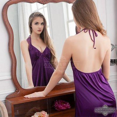 ♥緣來是你♥優質-大尺碼Annabery深V荷葉領深紫柔緞睡衣