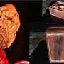 乖乖@賣場~核桃.文玩 橄欖雕和合二仙 百年好合.紫檀木盒~款 雨辰~老件~(AA888)