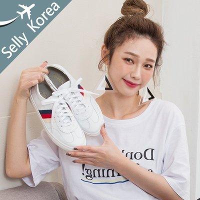 正韓 小白鞋 牛皮 側配色織帶 綁帶休閒鞋-Selly沙粒-(KR258)2色