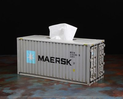 *現貨限時優惠*金屬貨櫃面紙盒/工業風抽紙盒/Loft貨櫃屋/貨櫃衛生紙盒 - Maersk +MSC+兩組木棧板杯墊