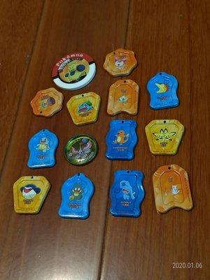 絕版全套14個神奇寶貝皮卡丘戰鬥鐵盤圓盤面交免運
