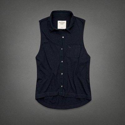 Maple麋鹿小舖 Abercrombie&Fitch * AF 深藍色口袋麋鹿LOGO無袖襯衫*( 現貨M號 )