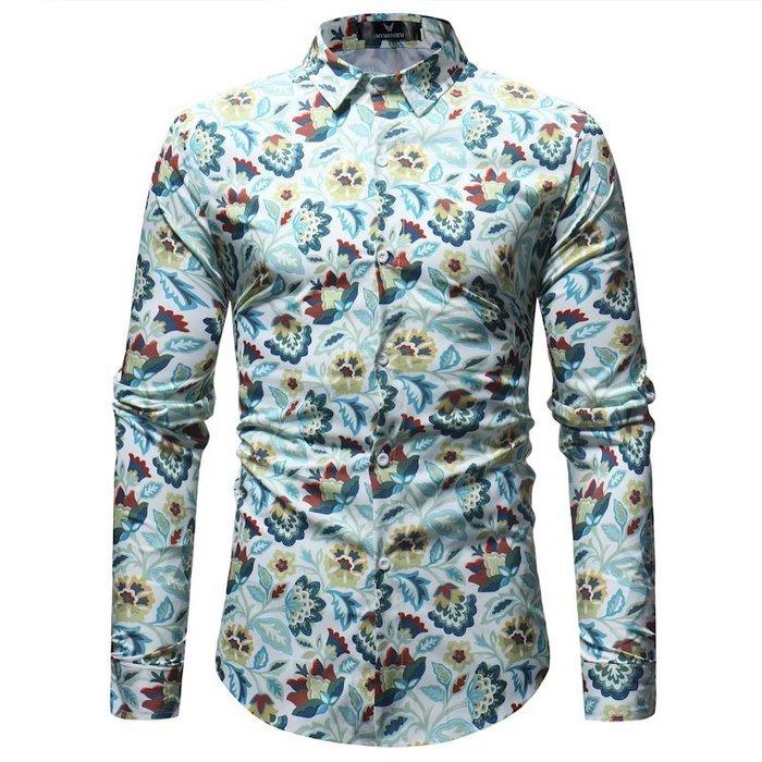 『潮范』  N4 新款Ebay速賣通亞馬遜外貿男裝碎花印花襯衫 長袖襯衫 拼接襯衫 襯衣NRG305