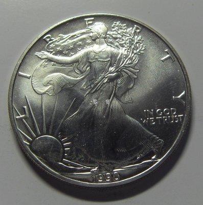 【鑒 寶】(世界各國錢幣)美國 1990年 1$美元  ♥  自由行走女神  ♥   大銀幣 BTG2807