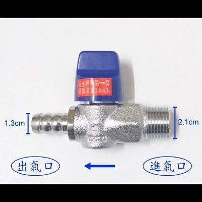 【台製】超流量瓦斯開關(4分外牙+4分插心)/安全球閥遮斷器/超流量瓦斯考克/天然瓦斯開關/超流量遮斷器/調整器