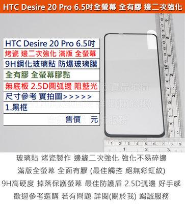 Melkco 4免運HTC Desire 20 Pro 6.5吋烤瓷邊二次強化全有膠無底板全螢幕9H鋼化玻璃貼防爆玻璃膜