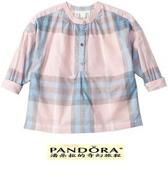 Burberry Shirt 粉紅格紋棉質襯衫女S號(童14Y)