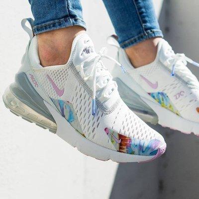 Nike WMNS Air Max 270 氣墊 網面 透氣 全白 粉紫 花卉 白紫 慢跑 女鞋 AT6819-100
